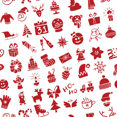 Winter,New year, Christmas Vector.Silhouette icons  set in  seamless pattern for winter holidays . Trendy flat style.Doodles sketch style.For Backdrop,background,fabric,Wallpaper. Vector