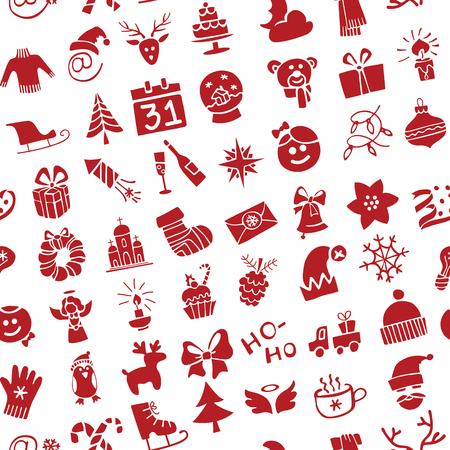 Winter, Nieuwjaar, Kerstmis Vector.Silhouette pictogrammen instellen in naadloze patroon voor de winter vakantie. Trendy platte style.Doodles schets style.For achtergrond, achtergrond, stof, behang.