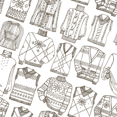 Fashion Sketchy.Outline knitted clothing seamless pattern Vector