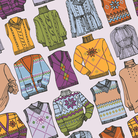Fashion Sketchy.Different knitted clothing seamless pattern Vector