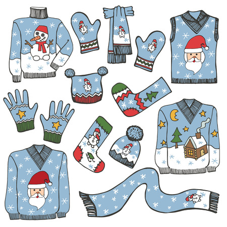 Fashion Christmas.Different knitted clothing set Vector