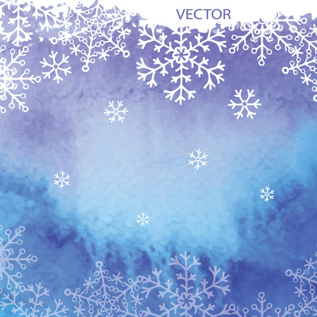 Watercolor texture with snowflakes background Vector