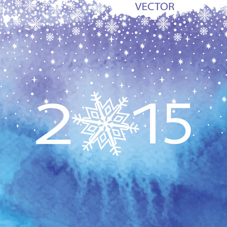 Watercolor  background.Cool colors,snowflakes,2015 Vector