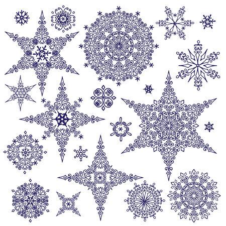 winter vector: Silhouette Snowflakes set. Winter Vector doodles