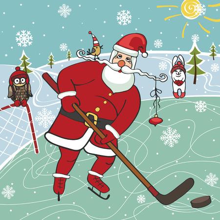 Kerstman spelen ijs hockey.Humorous illustrations.Winter sport Stock Illustratie