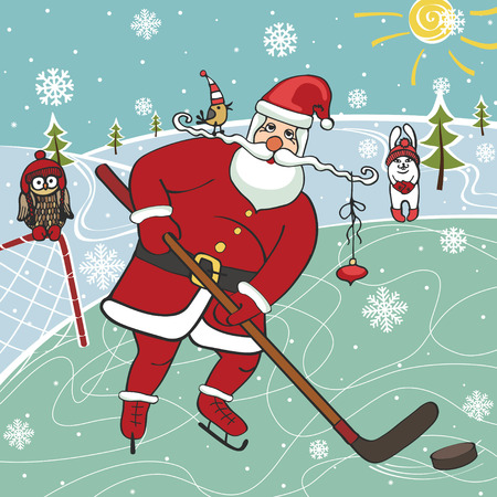 Santa playing ice hockey.Humorous illustrations.Winter sport Vector