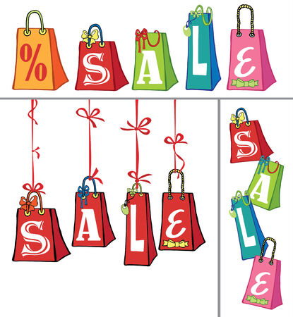 Sale template with Gift bags Vector