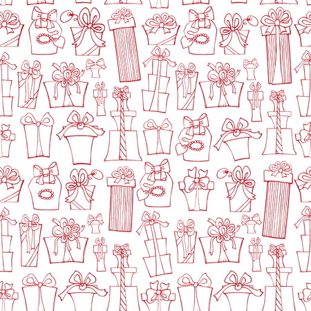 Gift box seamless pattern.Outline Doodle Vector