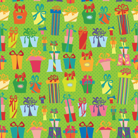 Gift box seamless pattern.Flat Doodle Vector