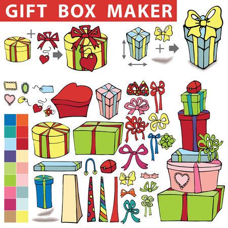 Gift box maker.Doodle set Vector