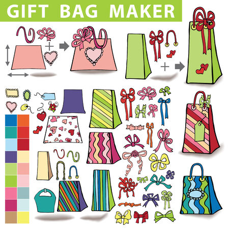 Gift bags maker.Colorful Doodle set Vector