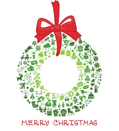 Christmas,new year icons in wreath shape,Doodles Vector