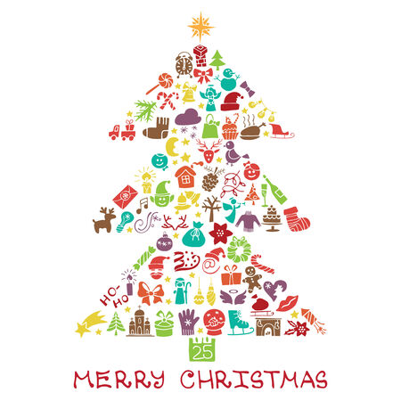 Christmas,new year icons in spurce tree shape,Doodles Vector