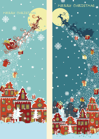 Christmas vertical banner set.Santa Claus coming to City Vector