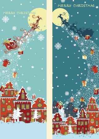weihnachtsmann lustig: Weihnachten vertikale Banner set.Santa Mann kommt zum Stadt