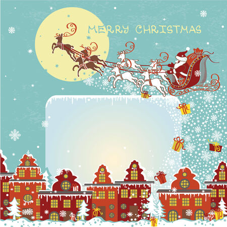 Christmas greeting card.Santa Claus coming to City.Vector Vector