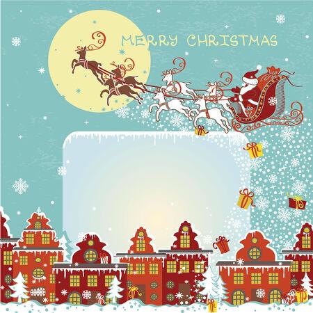santa funny: Christmas greeting card.Santa Claus coming to City.Vector