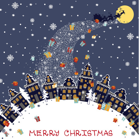 Christmas greeting card.Santa Claus coming to City Vector
