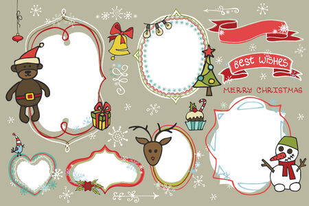 Christmas Doodles set.Labels,badges  with holiday icons Vector
