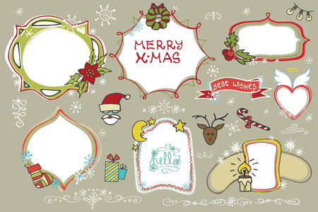 holiday icons: Christmas Doodles set.Badges,labels with holiday icons