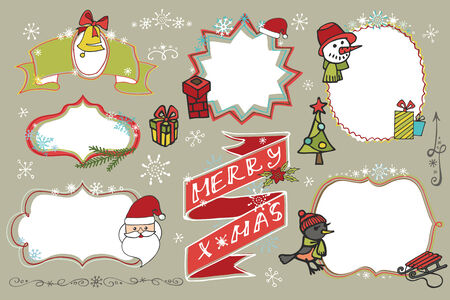 Christmas Doodles set.Badges,labels with holiday icons Vector