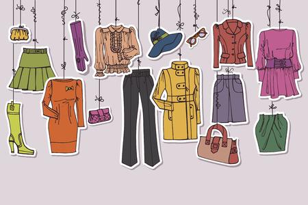 ropa colgada: Ropa y accesorios colgando de cuerdas Womans Vectores