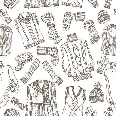 Sketchy Females knitted clothing seamless pattern Vector