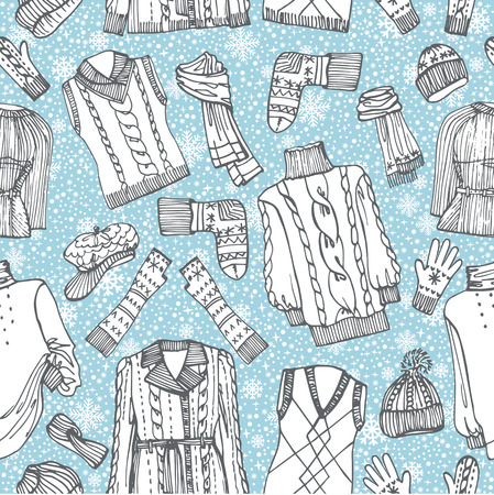 Sketchy Females knitted clothing ,snowflakes seamless pattern Vector