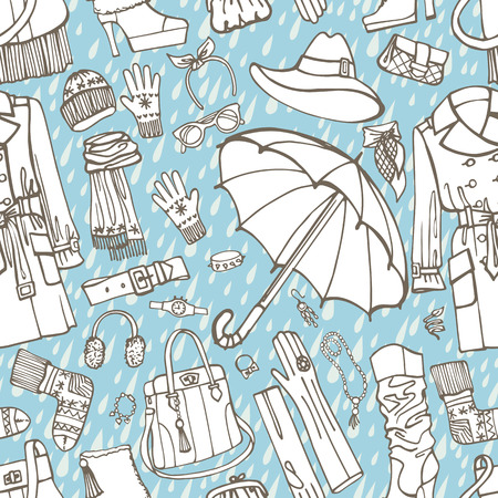 outerwear: Females outerwear,accessories,rain seamless pattern.Outline Sket Illustration