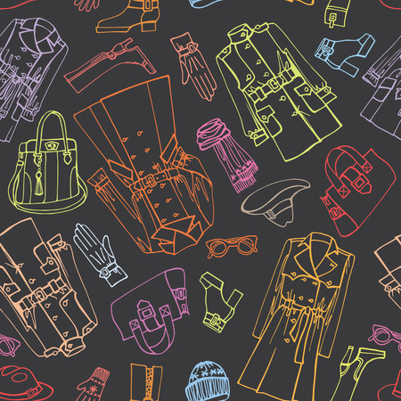 outerwear: Females outerwear,accessories seamless pattern.Outline Sketchy Illustration