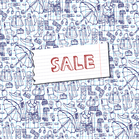 outerwear: Females outerwear,accessories sale background.Sketchy notepaper Illustration