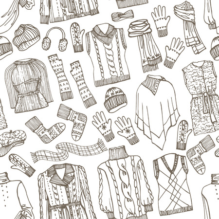 Females knitted clothing seamless pattern.Outline Sketchy Vector