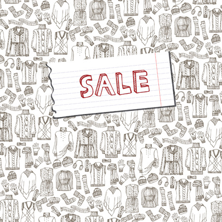 Females knitted clothing background.Sale Vector