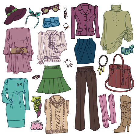 spring coat: Fashion Sketchy.Womans clothing and accessories set Illustration