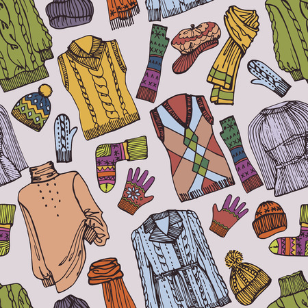 Fashion Sketchy.Females knitted clothing  seamless pattern Vector