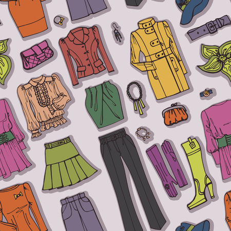 Fashion Sketch.Females clothing,accessories seamless pattern Vector