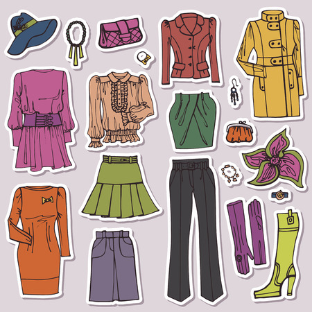 Fashion Sketch.Females clothing and accessories set.Sticker Vector