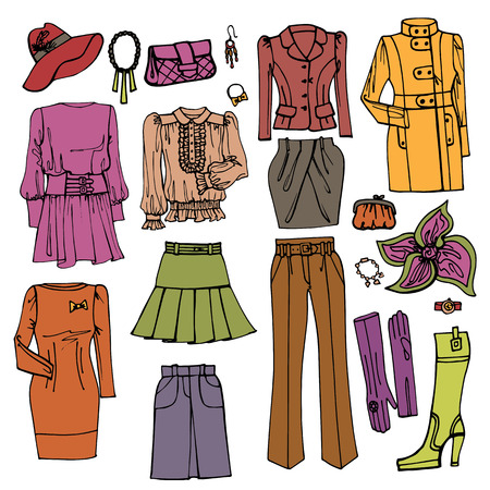Fashion Sketch.Females clothing and accessories set Vector