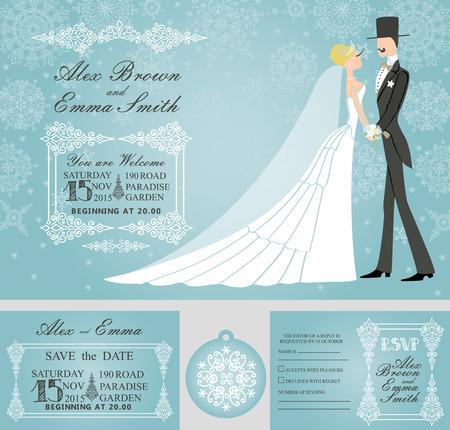 bride and groom background: Winter wedding invitation set.Rero bride,groom,snowflake Illustration
