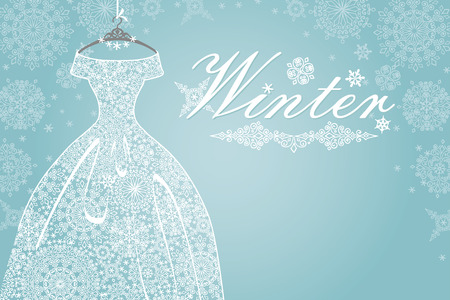 Winter card.Bridal dress with snowflake lace Vector