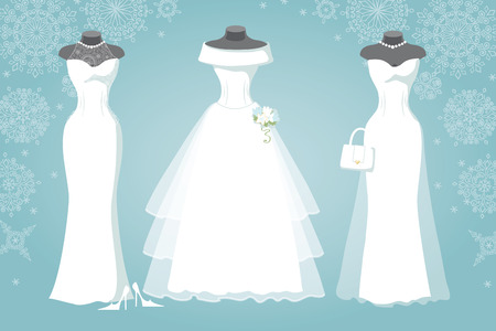 Three bridal dress.Winter Snowflake background