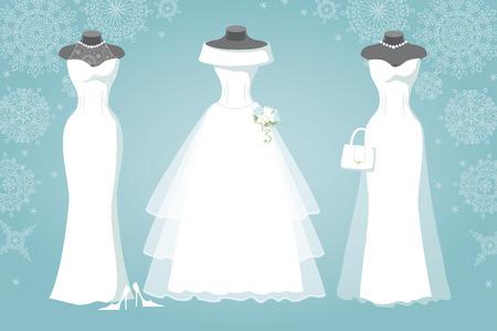 Three bridal dress.Winter Snowflake background