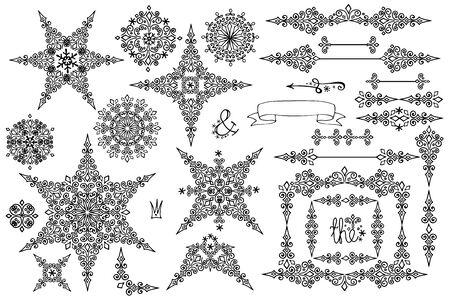 bordes decorativos: Los copos de nieve, marco, frontera set.Winter garabatos decoración Vectores
