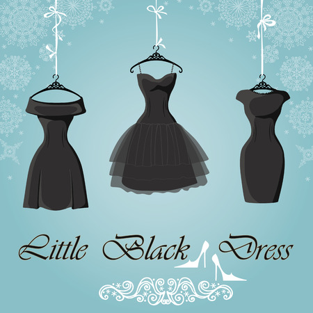 model fashion: Little black dress. Winter Snowflakes background
