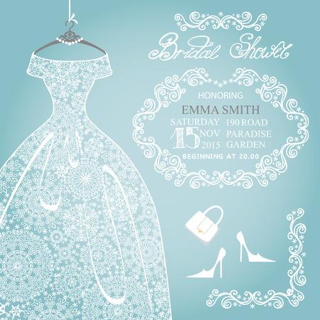 Bridal shower invitation.Wedding snowflake lace dress Vettoriali