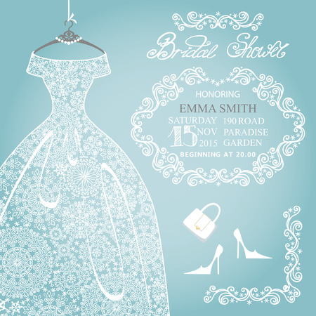 Bridal shower invitation.Wedding snowflake lace dress Ilustração