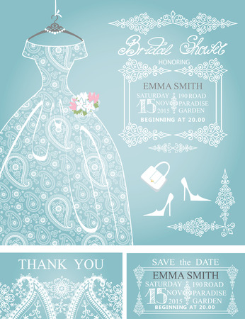 bridal shower: Bridal shower invitation set.Wedding paisley lace dress
