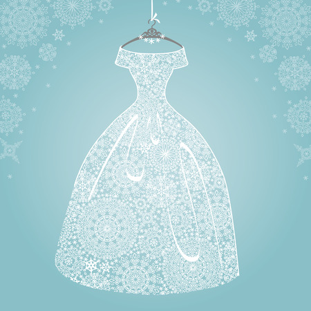 winter wedding: Bridal dress.Wedding snowflake lace