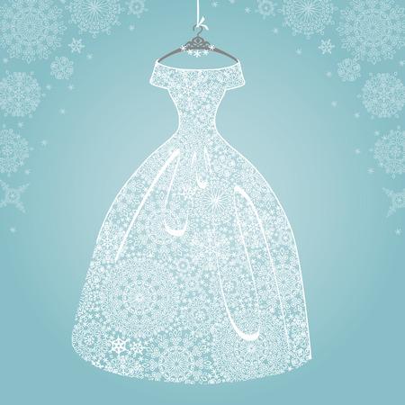 Bridal dress.Wedding snowflake lace