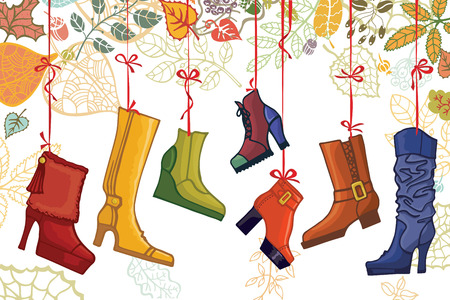Fashionable colored women\'s boots,shoes,autumn leaves